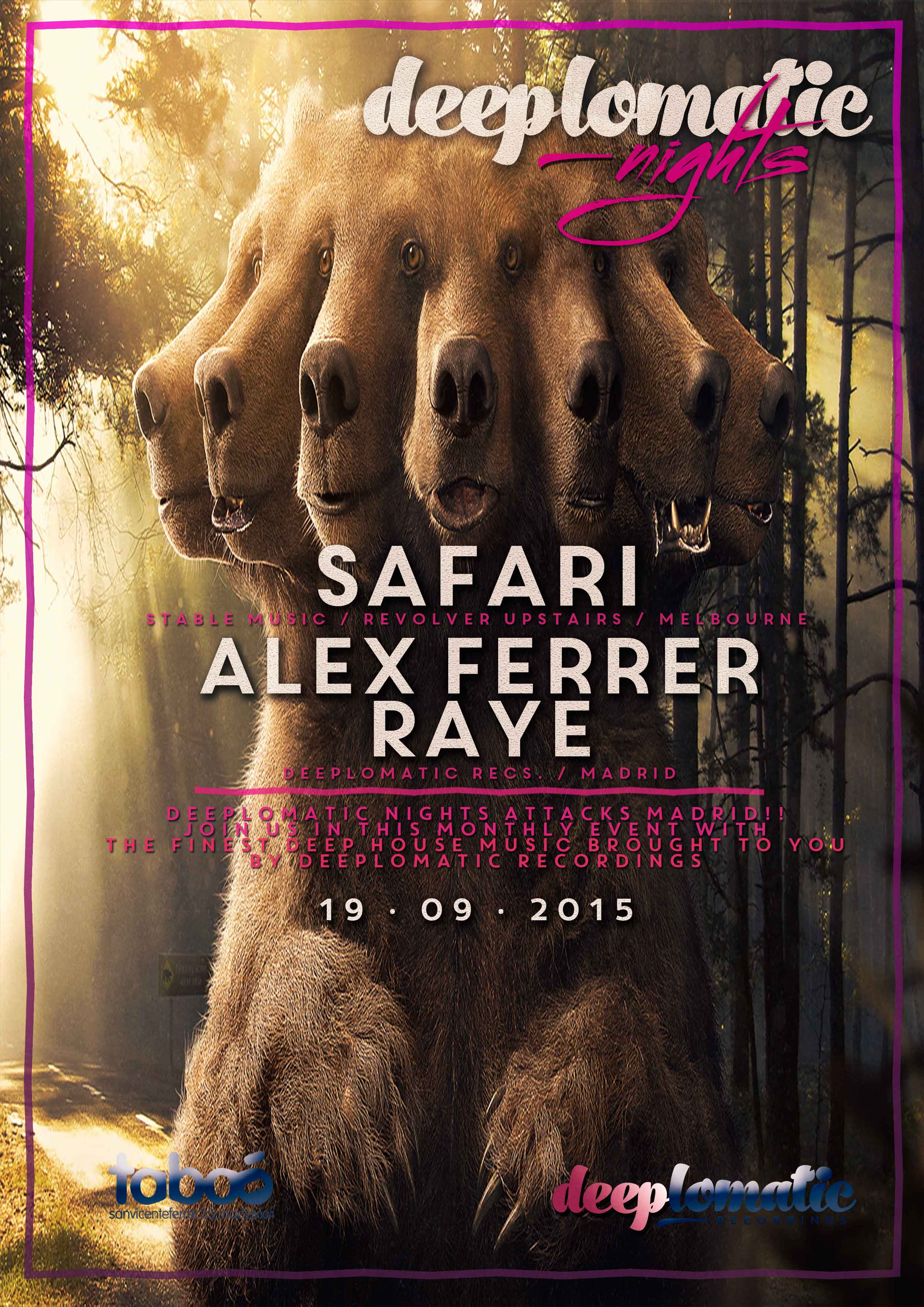 Deeplomatic Nights pres. Safari (Stable Music, Revolver Upstairs, Melbourne) and Alex Ferrer @ Taboo, Madrid