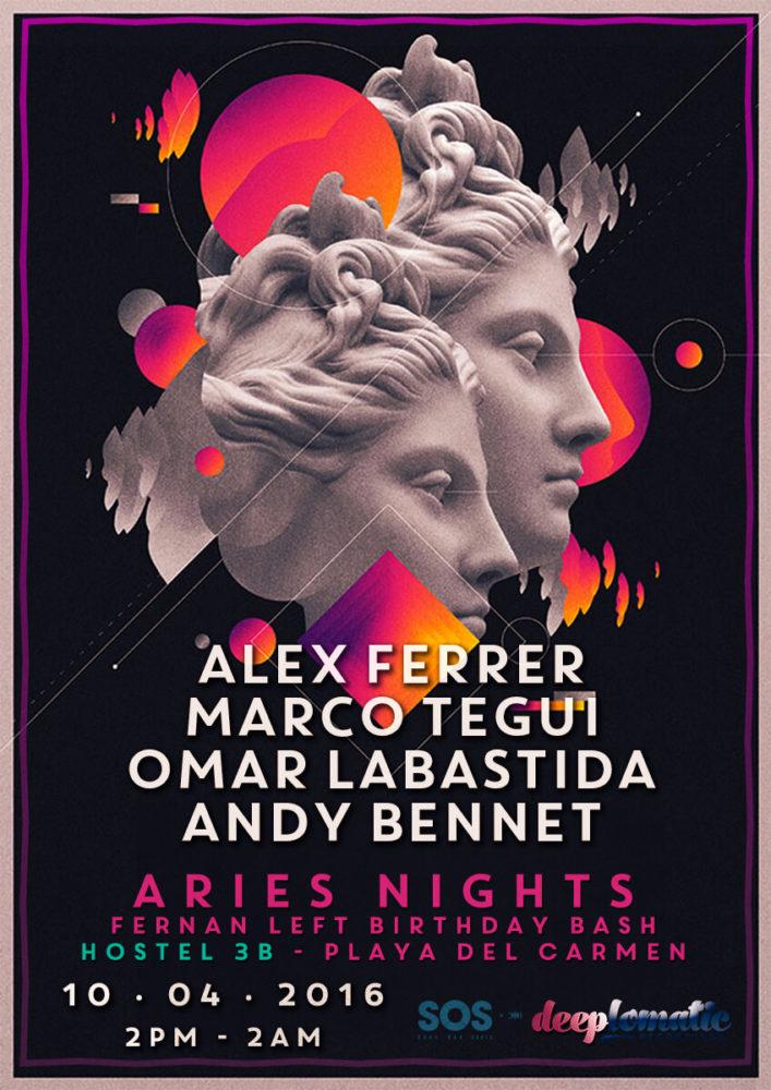 Aries Nights with Alex Ferrer, Marco Tegui, Omar Labastida @ Hostel 3B